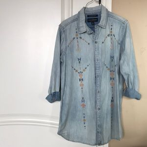 Lucky Brand Embroidered Denim Shirt